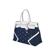Original Versace Jeans Designer Handtasche Schultertasche Tasche Blau Weiß Stoff