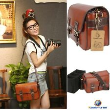 Women's Waterproof Vintage PU Leather DSLR Camera Shoulder Bag For Nikon Canon