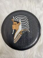 Vintage Egyptian Brass Copper Silver Wall Plate King Tut Nefertiti Etch 1979