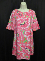 Lilly Pulitzer Dress Silk Colorful Pink Large Floral Print Fully Lined Size 4