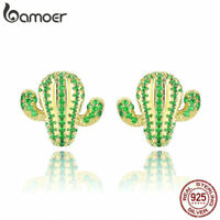 BAMOER The Cactus S925 Sterling Silver Stud Earrings With AAA CZ For Women