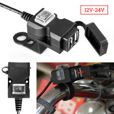Doppio Caricatore Presa USB Moto Manubrio W/ Switch Supporti Impermeabile 12-24V