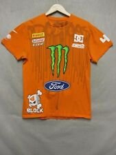 Z7041 DC mens orange short sleeve t-shirt w/ many sponcers size M.