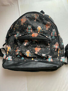Owl Print Rucksack Backpack Black And Multicoloured