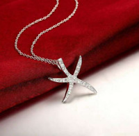 925 Silver CZ Crystal Gem   Starfish Star Pendant Necklace Boho Statement 18''
