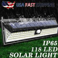 118LED Solar Lights Outdoor Garden PIR Motion Sensor Wall Lamp Waterproof Yard