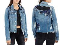 True Religion Women's Distressed Danni Denim Trucker Jacket Blue Size XS