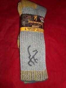 1 Pair Browning Uplander 85% Merino Wool Unisex Thermal Boot L or XL Socks USA