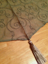 JCPenney Sheer Crushed Voile Embroidered Ascot Valance 50 x 19 Sage Green