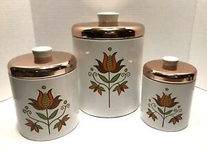 Vintage Ransburg Tin Metal Nesting Canisters Set Of 3 Tulips Copper Lids