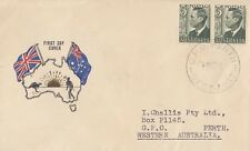 Stamps Australia 1951 KGV1 3d green pair on Challis cachet generic cachet FDC