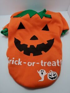 Small Dog Jack O Lantern Orange Fleece Costume Trick or Treat New