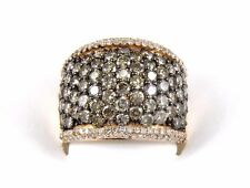 Fancy Color Wide Chocolate Cluster Diamond Cigar Ring Band 14k Rose Gold 4.72Ct