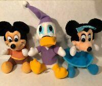 LOT 3 DISNEY Mickeys Christmas Carol Vintage Plush Minnie Mickey Scrooge Hardees