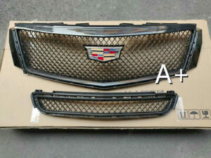 For Cadillac XTS 2013-2017 Radiator Front Bumper Upper + Lower Grilles Black