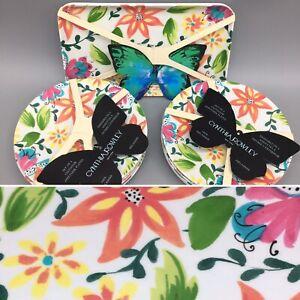10pc Cynthia Rowley Floral Melamine Appetizer Plate Tray Set Orange Yellow Pink