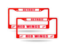 Detroit Red Wings Red Painted Chrome Metal (2) License Plate Frame Set