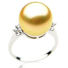 $4,599 Pacific Pearls® AAA 12mm Australian Golden  South Sea Pearl Diamond Ring