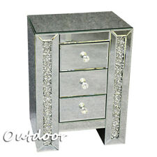 3-Drawers Crystal Bedside Table Bedroom Home Cabinet Nightstand Mirrored Glass