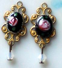 Vintage Charms Connectors Guilloche Enamel Black Rose Antique Brass OX #1419 O