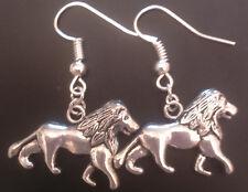 Lion earrings silver tone animal cat