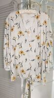 NEW Plus Size 2X 3X Yellow Gold Blouse Sunflower Floral Top Shirt