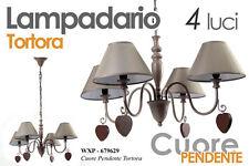LAMPADARIO 4 LUCI TORTORA DA SOFFITTO DECORO CUORE PENDENTE WXP-679629