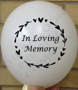 10 IN LOVING MEMORY BALLOONS Remembrance Funeral Pet Loved Memorial Balloon