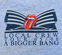 2005 ROLLING STONES Bigger Bang Local Stage Crew T Shirt XL Grey Rare Original!
