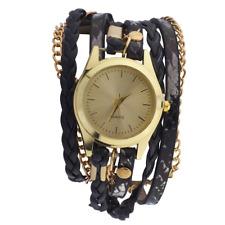 Lux Accessories Gold Tone Black Braided Chain Animal Print Leather Wrap Watch