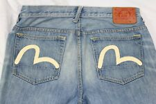 Mens Evisu Logo Jeans Distressed Button Fly Flat Front Size W32