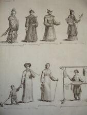 GRAVURE XVIIIe / CHINOISES Dame du Palais-Tartares-Fou-Kin-Femme en deuil