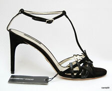 New $595 DOLCE & GABBANA Suede/Pantent Leather Sandal Pump ~Black *39.5/9.5