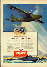 1943 vintage WW2 Ad, Higgin's PT Boats, Landing Craft, Airplanes (030814)