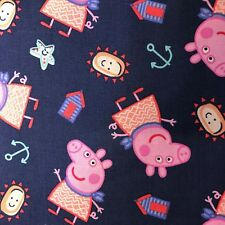 Fabric Peppa Pig by The Seaside Nick Jr Cotton Quilting Fabric Priced per Yard
