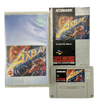 SNES Axelay Game Cartridge In Rental Case With Instruction Manual PAL