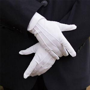 1 Paar weiße formelle Handschuhe Weiße Ehrengarde Parade Santa Frauen MännerWP4