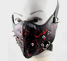 Spike Steampunk Biker Mask Masquerade Leather Black Cosplay Men Gothic Punk