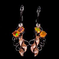 Natural Orange Opal Earrings Silver 925 Sterling Beauty Rainbow7x5mm  /E39634