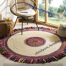 Natural Handmade Jute Carpet Cotton Boho Round Braided 240x240 CM Floor Area Rug