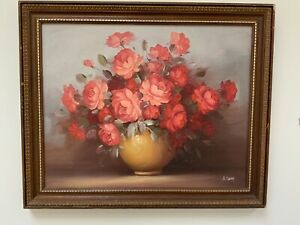 Pink Red Flowers OIL PAINTING Mid Century Modern VINTAGE A Tant