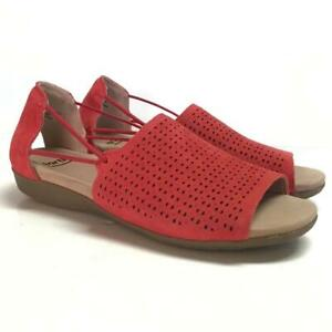 Earth Alder Abra 8.5 39.5 M Flat Suede Sandals Spicy Red Perforated Slip On