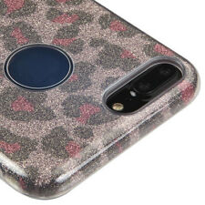 For iPhone 7+ PLUS - Pink Brown Leopard Glitter Shimmering TPU Rubber Case Cover