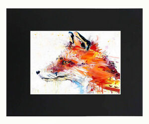 Fox Oil painting Style Watercolor 8x10 matted Art Print Poster Decor picture