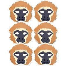 6 Gibbon Foam Masks - by Blue Frog Toys *New Design* - Monkey Face Masks