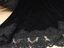 Designer Velvet Shawl/Wrap With Pearls Border And Pearl Beads All Over