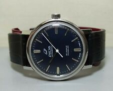 SUPERB VINTAGE ENICAR WINDING SWISS MENS E60 OLD USED WRIST WATCH DARK DIAL