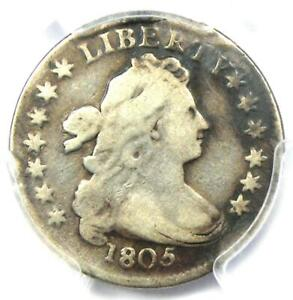 1805 Draped Bust Dime 10C - Certified PCGS Fine Details - Rare Coin!