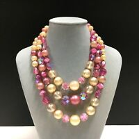 Vintage Pink & Cream PEARL & ART Glass Beaded 3-Strand Necklace Gold Retro zz34m