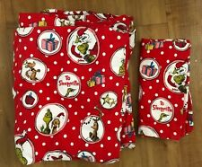 Dr Seuss Pottery Barn Teen Christmas Grinch Flannel TWIN XL Duvet Cover USED